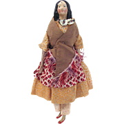 Milliner's Model, All Original, Hand-stitched Clothing, Papier Mache and Carved Wood with Kid Body