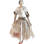 Petite German Milliner's Model, All Original, Papier Mache and Carved Wood with Original Costume