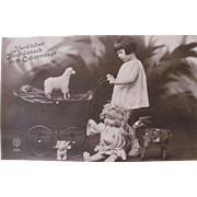 German Real Photo Post Card, Girl, Doll and Toys, Happy Birthday, Vintage 1920s