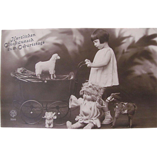 Little Girl With Her Doll and Toys, Happy Birthday, Vintage 1920s, German RPPC, Real Photo Post Card