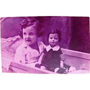 Tinted Real Photo Post Card, Little Girl With Felt Doll, Dated 1933, French RPPC