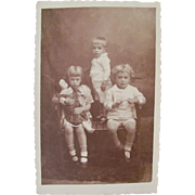 Sepia Real Photo Post Card, Children and Bisque Doll, Dated 1924