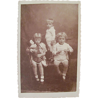 Sepia RPPC, 3 Children, Little Girl With Big Bisque Doll, Real Photo Post Card, Dated 1924