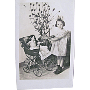 French Real Photo Post Card, Girl with Bisque Doll in Buggy, Vintage 1930s