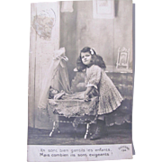 French RPPC, Little Girl, Cradle and Sleeping Bisque Doll, Vintage 1930s, Sepia Real Photo Post Card