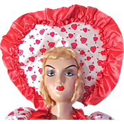 Valentines Day Boudoir Doll, Transitional Doll, Vintage 1940s