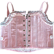 Pale Pink Sateen Corset For Bebe, Size 9, French Antique