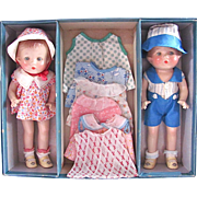 Horsman Babs Twins With Wardrobe in Original Suitcase, Composition Dolls Circa 1931
