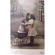 Tinted French Real Photo Postcard, Little Girl With Doll in Pram, Walking My Baby, Circa 1910s