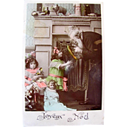 Real Photo Post Card, 2 Little Girls, Dolls and Toys, Joyeux Noel, Tinted French RPPC, Postmarked 1907