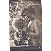 Real Photo Post Card, Little Flapper Girl, Lenci Doll, Frohliche Weihnachten, Vintage 1920s