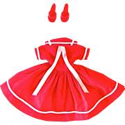 Vogue Jill Doll Dress and Shoes, #3366, Red Sailor Dress, Red Open Toe Heels, Vintage 1958