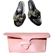 Vogue Jill Doll Purse and Shoes, Pink Clutch Purse, Pair Silver and Pink Heels, Vintage 1958