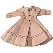 Vogue Jill Doll Coat #3375, Beige Felt Shawl Collared Coat, Vintage 1958