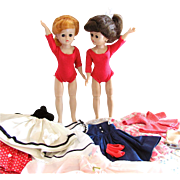 TLC Pair Vogue Jill Dolls with Clothes and Accessories, Vintage 1950s