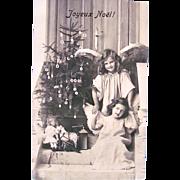 French Real Photo Postcard, Angel Girls, Doll, Christmas Tree, Circa 1910s