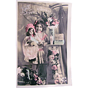 French Tinted Real Photo Postcard, Girl, Doll and Roses, Happy New Year, Circa 1910s