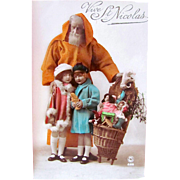 French Real Photo Postcard, Orange Robe Santa, Children, Dolls, Toys, Circa 1920s