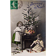 Girls, Dolls and Christmas Tree, Tinted French Real Photo Postcard, Postmarked 1914