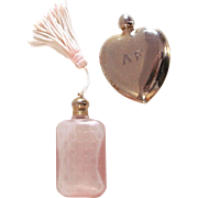 Two Mini Perfume Bottles, Engraved Heart and Pink Glass with Tassel, Vintage Valentines