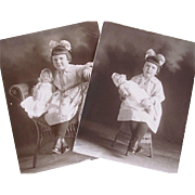 Pair of Original Photographs c. 1910s, Little Girl and Baby Doll, Cute