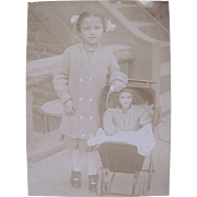 Vintage Photograph, Little Girl, Bisque-head Doll, Doll Buggy, ca. 1920s