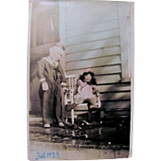 Vintage Photograph, Sailor Boy, Composition Doll, Toy Truck, Dated February 1935