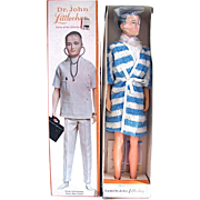 Remco Dr. John Littlechap Doll In Original Box With Booklet and Stand, Vintage 1960's