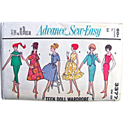 Barbie Doll Pattern UNCUT Advance 3377 Vintage 1960s