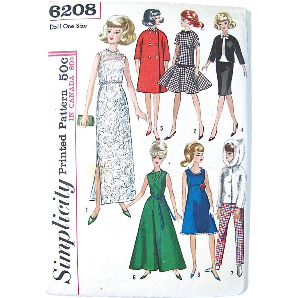 Tammy Doll Clothes Sewing Pattern Simplicity 6208 Uncut and Factory Folded Vintage 1965