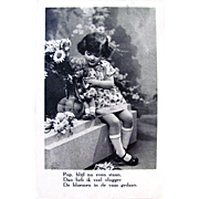 Real Photo Postcard Little Girl With Doll, Dutch, Vintage Postmark 1940
