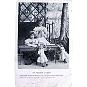 Real Photo French Postcard Little Girls With Dolls, Les Petites Mamans, Postmark 1905