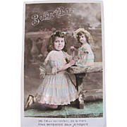 Little Girl and Her Doll, Hand Tinted French RPPC, Bonne Annee, Vintage Early 1900s