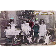 Birthday Party, Hand Tinted French Post Card, 5 Children, Dolls and Toys, Postmarked 1909