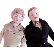 German Bisque Dollhouse Dolls, The Lord and Lady Of The Manor, Edwardian Era, All Original