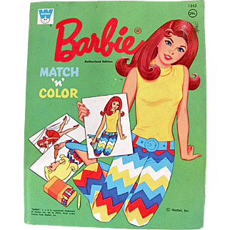 Barbie Match 'n' Color Book, Whitman, Mode Era, Vintage 1972, Unused