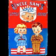 Uncle Sam's Little Helpers Paper Dolls, Uncut and Complete Original, Saalfield, Vintage 1943, World War II