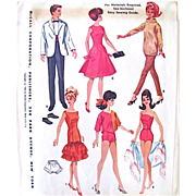 Barbie and Ken Dolls Wardrobe Pattern Uncut McCall's 6420 Vintage 1962