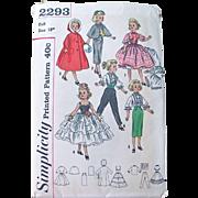 Doll Wardrobe Pattern Simplicity 2293 Uncut Size 18 Inch Miss Revlon, Cissy Vintage 1957