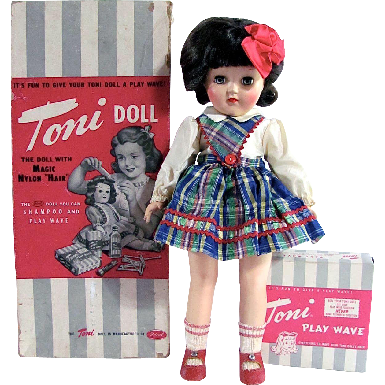 Ideal Toni Doll P-90 Brunette with Play Wave Set All Original in Original Box Vintage 1950s