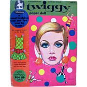 Twiggy Paper Doll and Fashions in Original Folder, Whitman, Vintage 1967