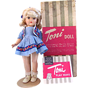 Cute Platinum Blonde Toni Doll P-90 With Play Wave Set and Original Box, Vintage 1949