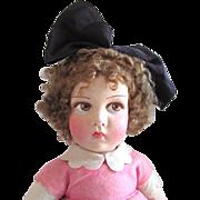 French Raynal Cloth Doll, 22-Inch Girl In Original Felt Costume, Circa 1926