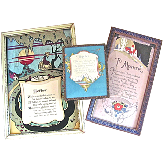 Group of 3 Framed Mother Motto Prints, Vintage 1920s, Mothers Day Gift