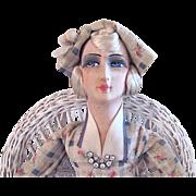 French Cloth Boudoir Doll, All Original, Circa 1920