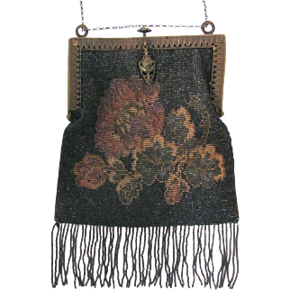 Black Beaded Evening Bag, Made in France, Circa 1910s