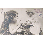Easter Real Photo Post Card, Girl with Doll and Rabbits, German, Vintage