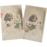 French Tinted Real Photo Post Cards, Set of Two Little Girl with Big Baby Doll, Dated 1906