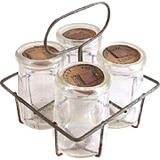 Doll-size Glass Milk Bottles in Wire Carrier, Toy Kitchen or Grocery, Circa 1930s
