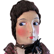 Larger Size French Cloth Boudoir Doll, All Original, Circa 1920s